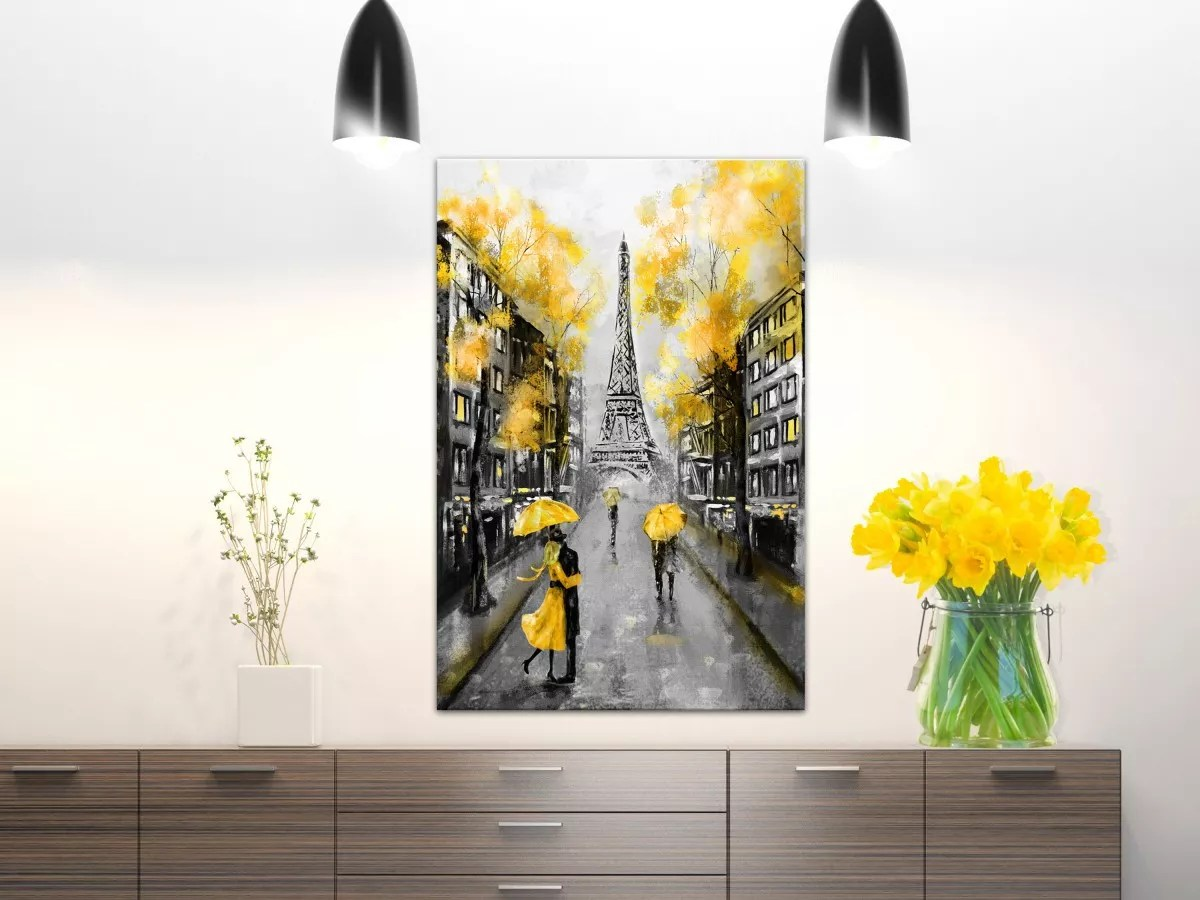 Tableau Moderne Vertical Tableau Autumn In Paris 1 Part Vertical Declina