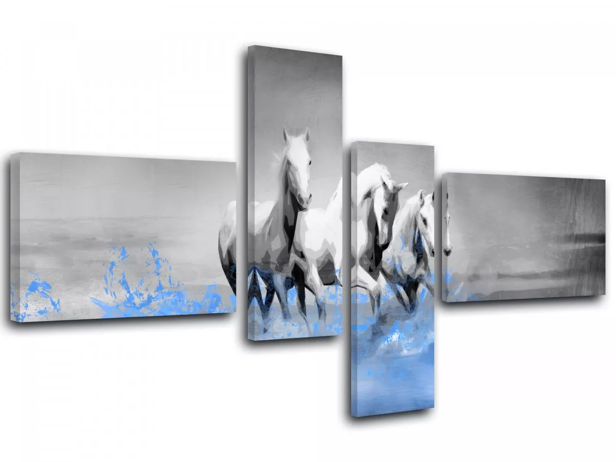 Tableau Animal Blanc Decoration Murale Salon Moderne 60 X 90 Cm Startonight Impression Sur Toile Cheval Dans La Neige Image Sur Toile Cuisine Maison Tableaux Posters Et Arts Décoratifs
