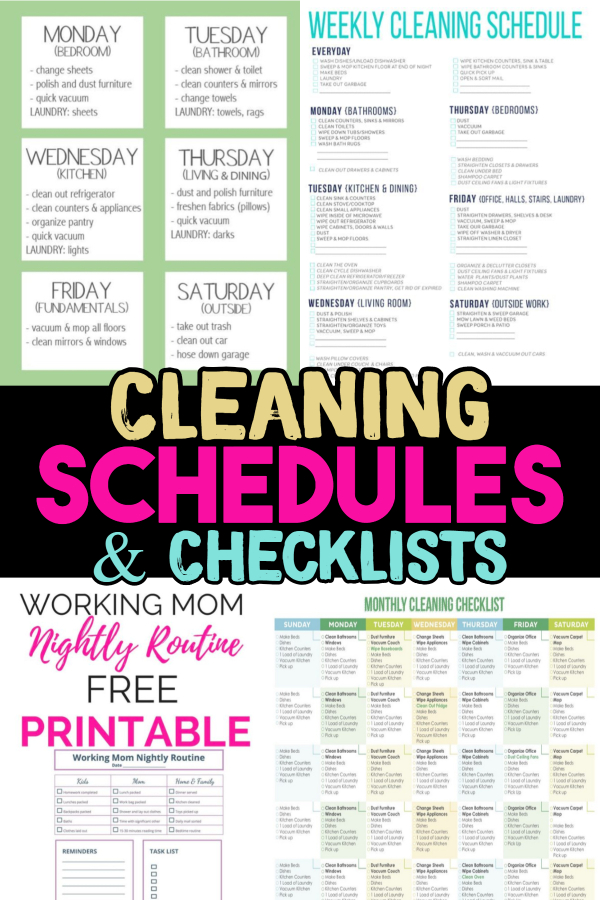 Cleaning Schedules  Checklists (Daily, Weekly, Monthly Cleaning