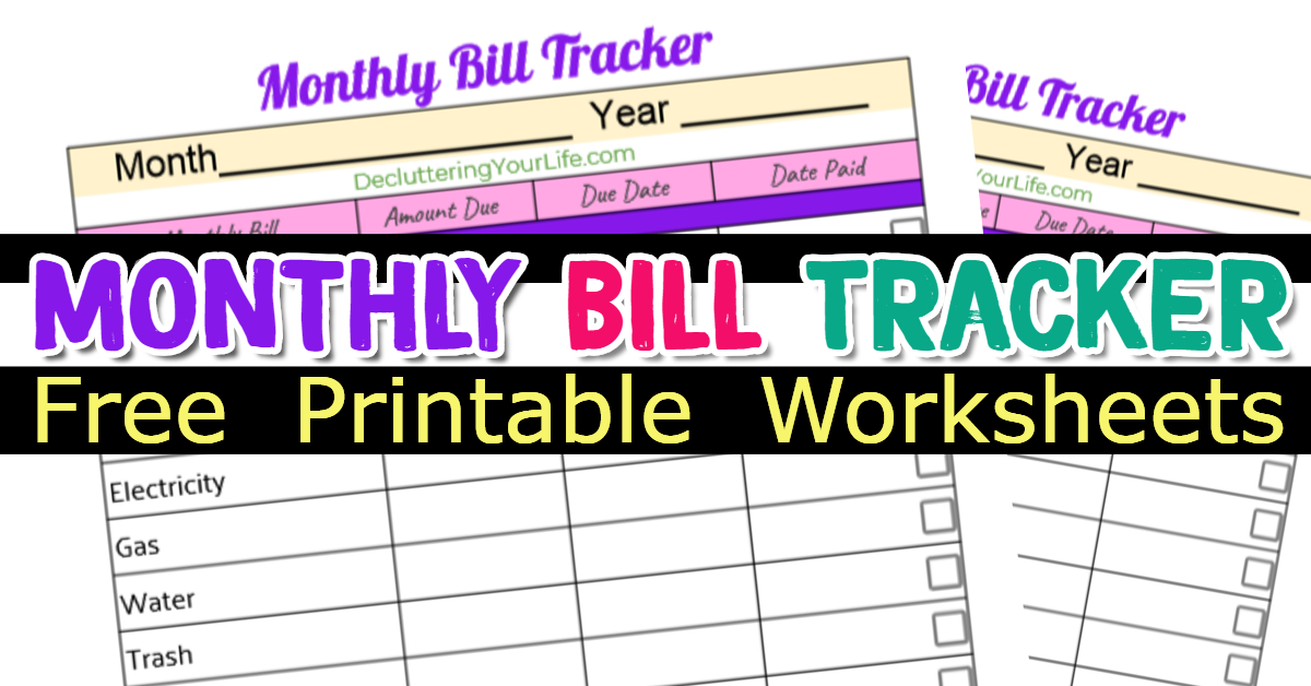 Free Bill Organizer Printables (and my simple bill organization