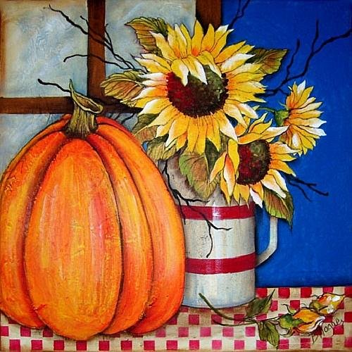 Fall Themed Wallpaper Sunflowers In Fall Wall Canvas Project By Decoart