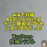 wlwで投稿403Forbiddenエラーの原因はアドセンスのタグだった