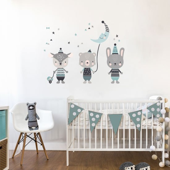 Pegatinas Decorativas Pared Vinilo Infantil De Tela Animales Happy Mint