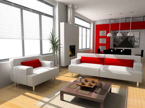 100+ Best Red Living Rooms Interior Design Ideas - grey and red living room