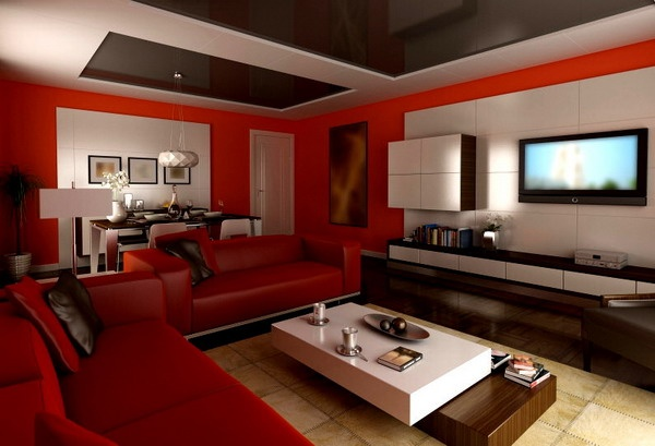 100+ Best Red Living Rooms Interior Design Ideas - red and black living room set