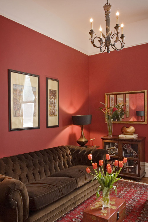 100+ Best Red Living Rooms Interior Design Ideas - red and brown living room
