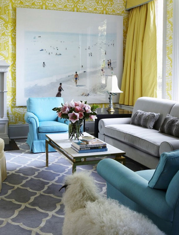 26 Amazing Living Room Color Schemes - Decoholic - grey and turquoise living room