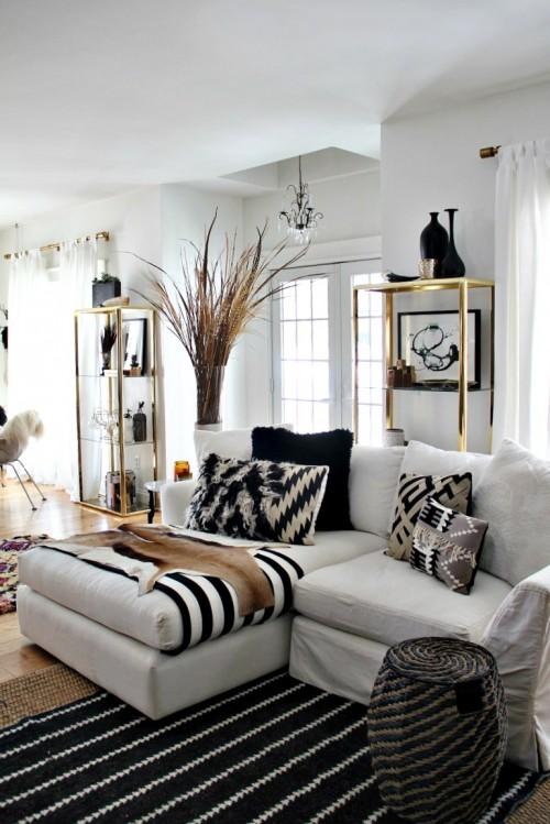 48 Black and White Living Room Ideas - Decoholic - black white and gold living room ideas