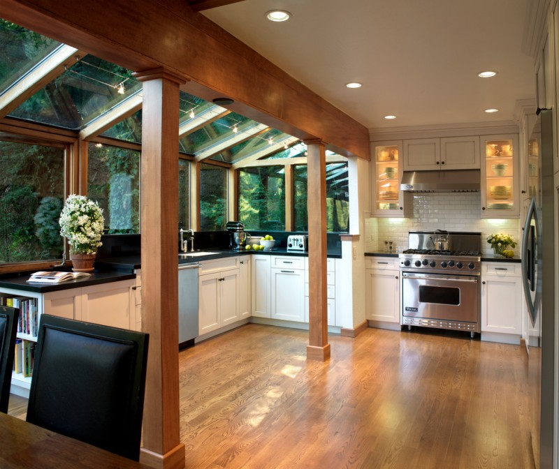 Single Wall Kitchen With Island Design Beautify Your Beloved Kitchen With Kitchen Greenhouse