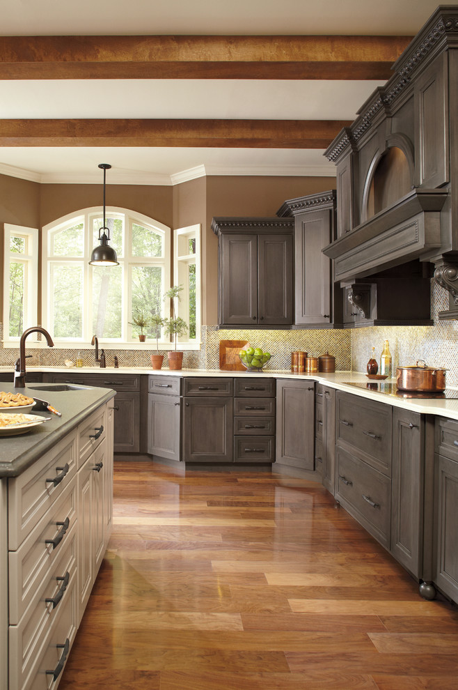 Kitchen Grey Floor Brown Cabinets Cool Cabinets To Get Ideas When Looking For Kitchen