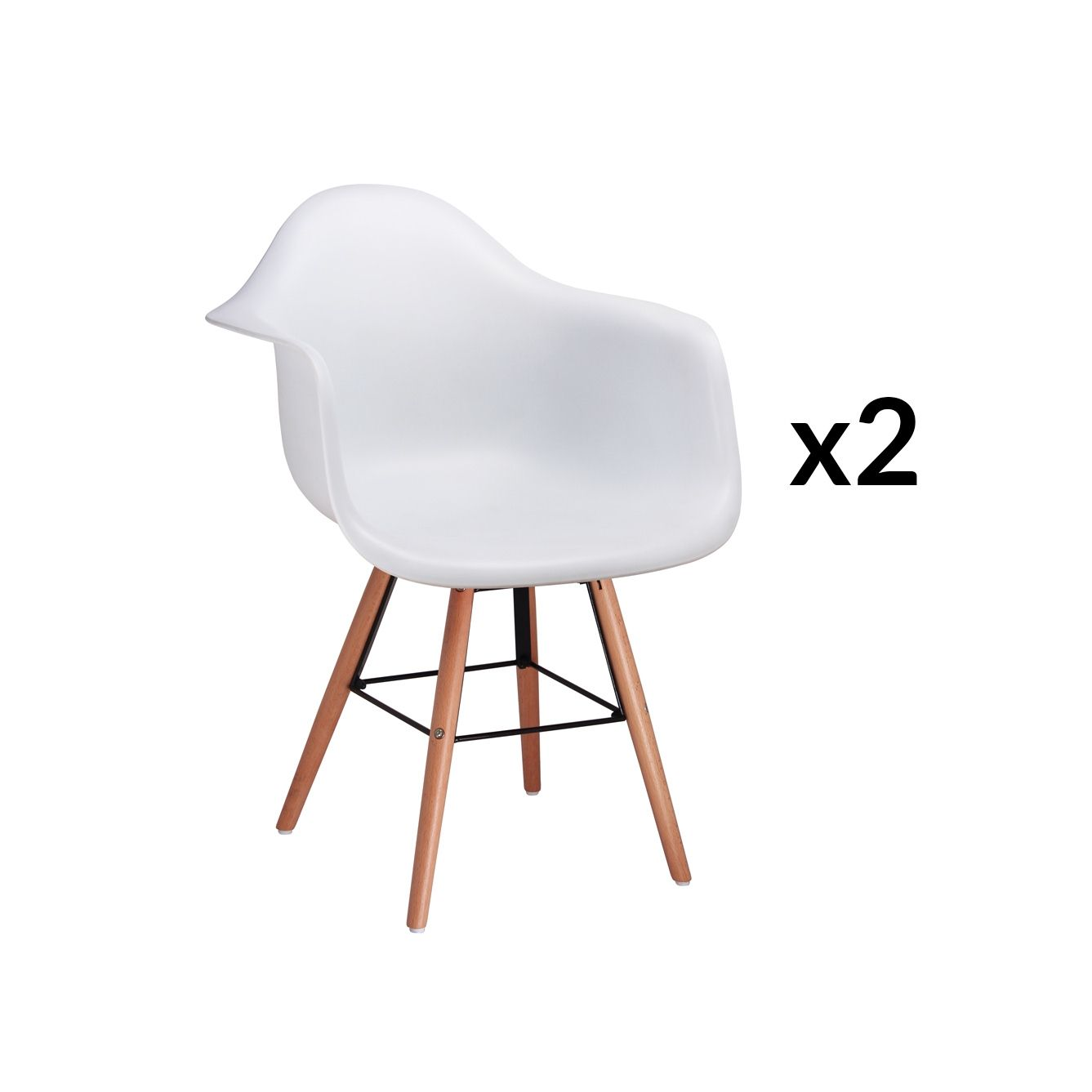 Lot Chaise Scandinave Lot De 2 Chaises Scandinaves Blanches Avec Accoudoirs Nina