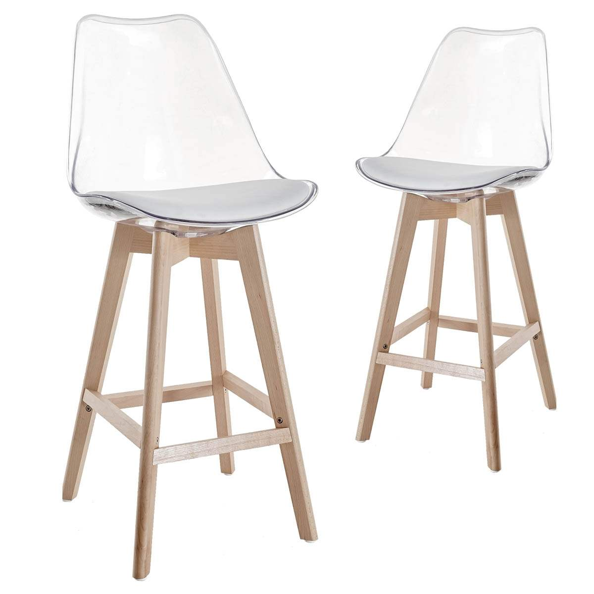 Tabourets De Bar Transparents Deco In Paris Lot De 2 Tabourets De Bar Scandinaves