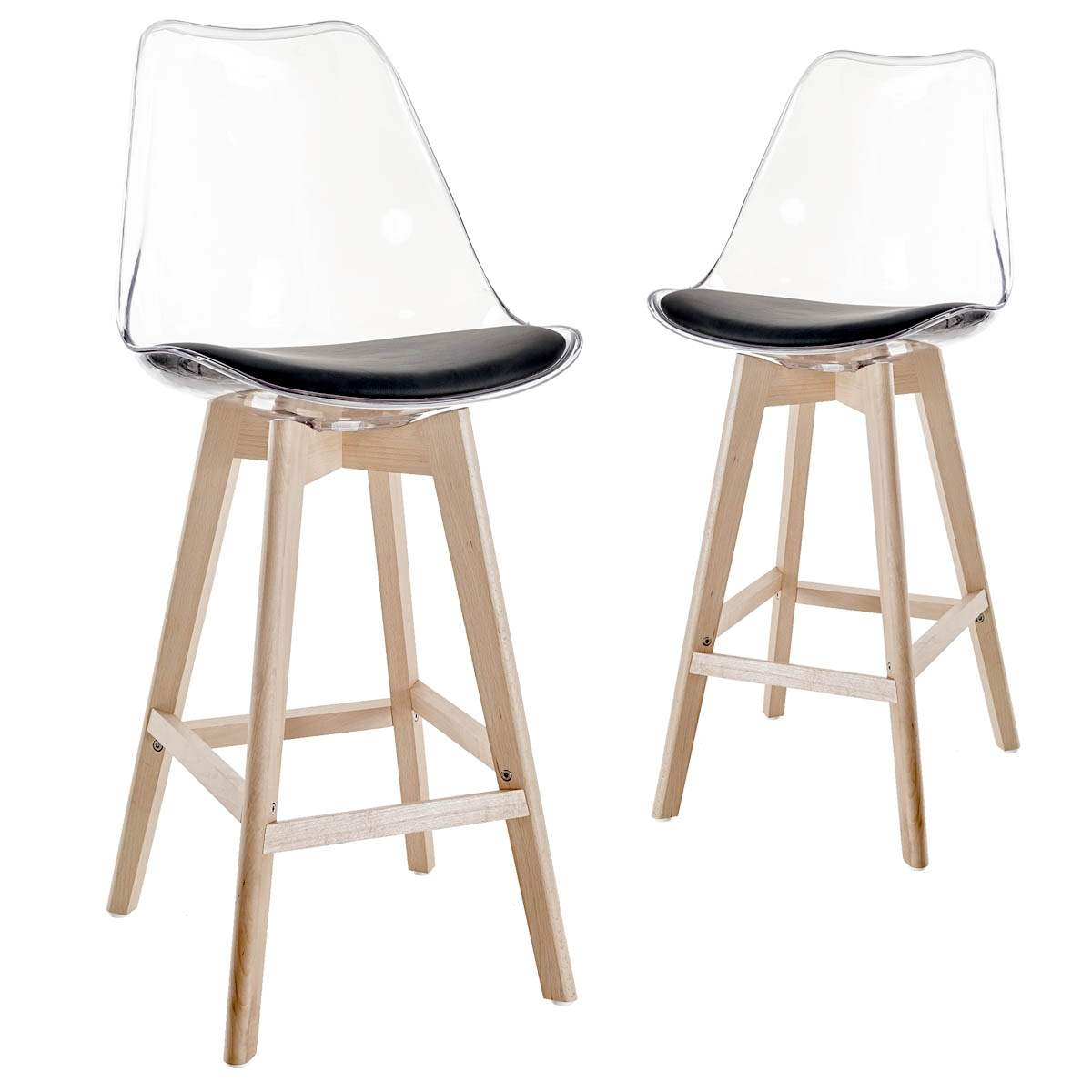 Tabourets De Bar Transparents Deco In Paris 4 Lot De 2 Tabourets De Bar Scandinaves