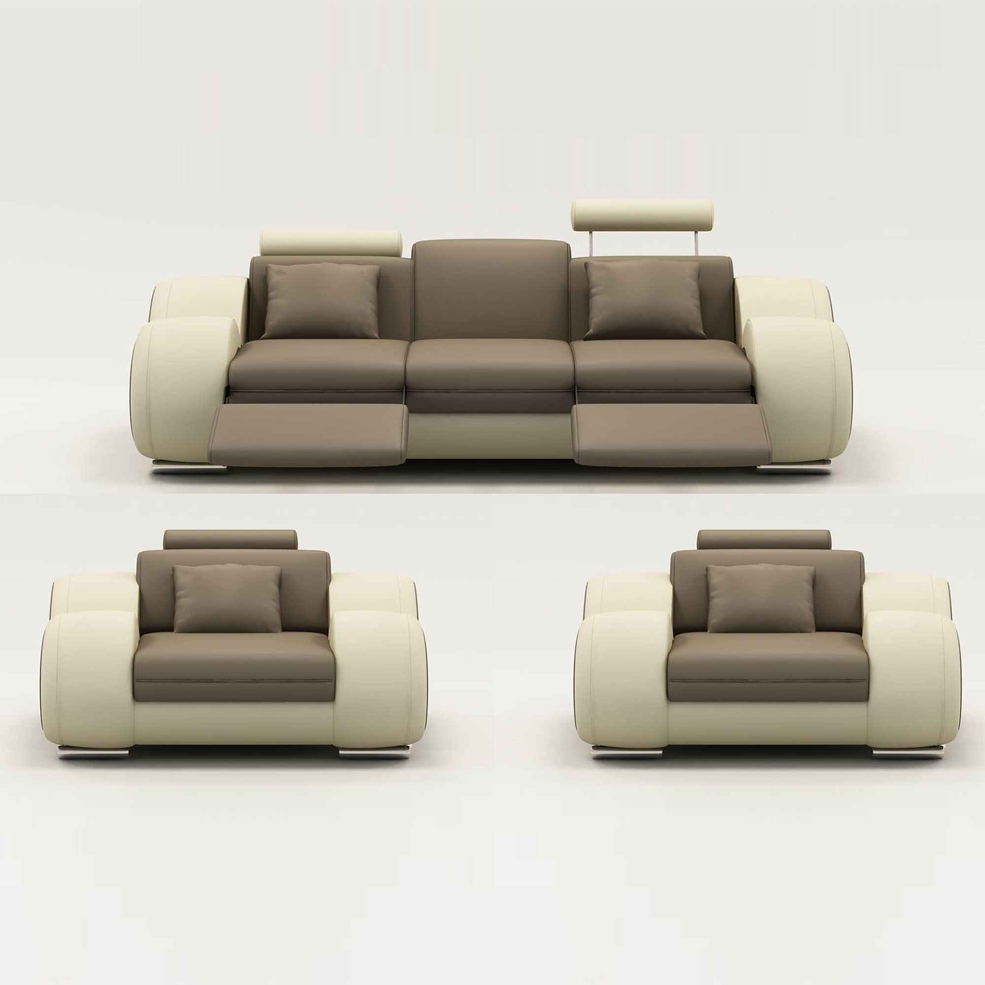 Ensemble Canape Beige Ensemble Canapé Relax 3 1 1 Places Marron Et Beige Oslo