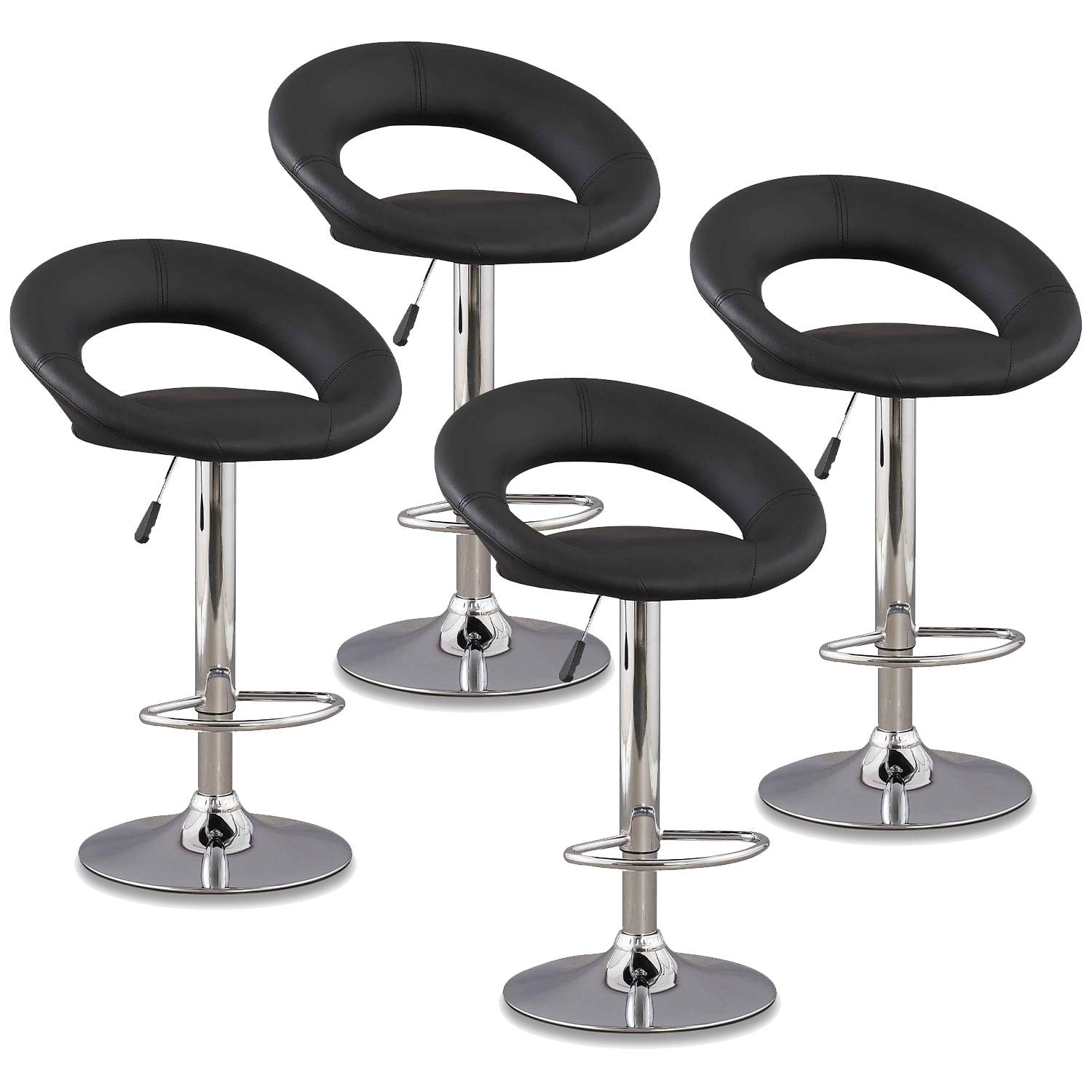 Lot De 4 Tabourets De Bar Noir Jeti Decoinparis