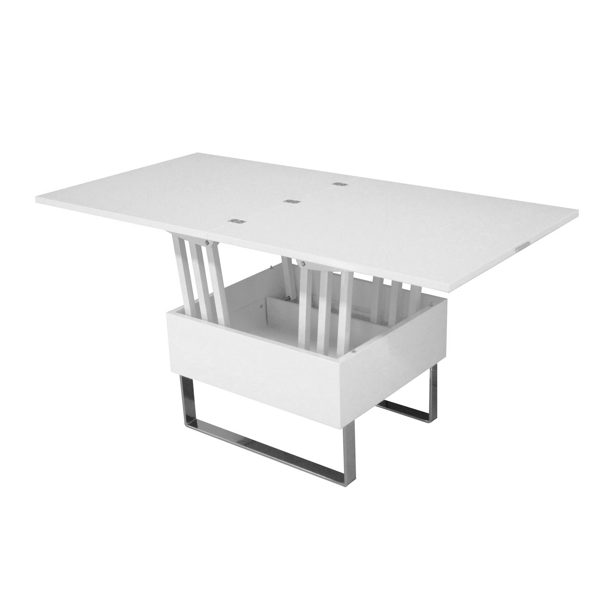 Table Basse Laquee Blanc Table Basse Relevable Multifonction Woods Laquée Blanc
