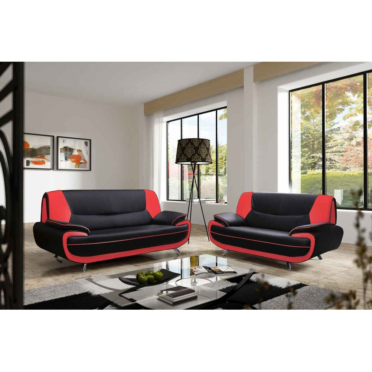 Lit Sommier 160 X 200 Deco In Paris - Canape 3 2 Places Noir Et Rouge Marita