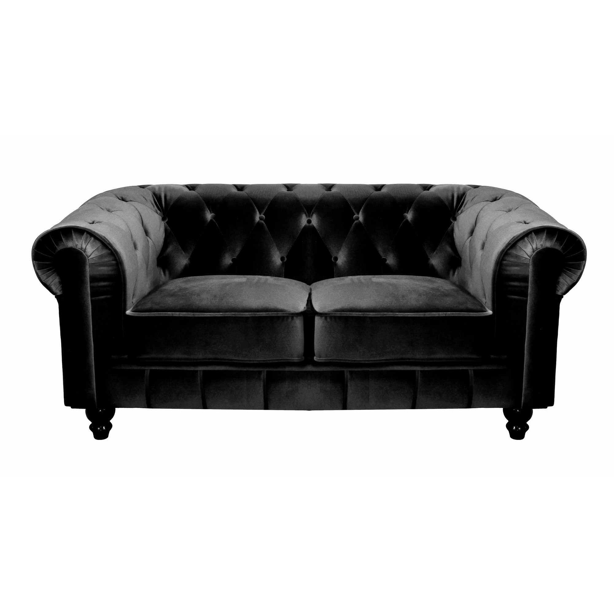 Canapé En Velours Deco In Paris Canape 2 Places Velours Noir Chesterfield