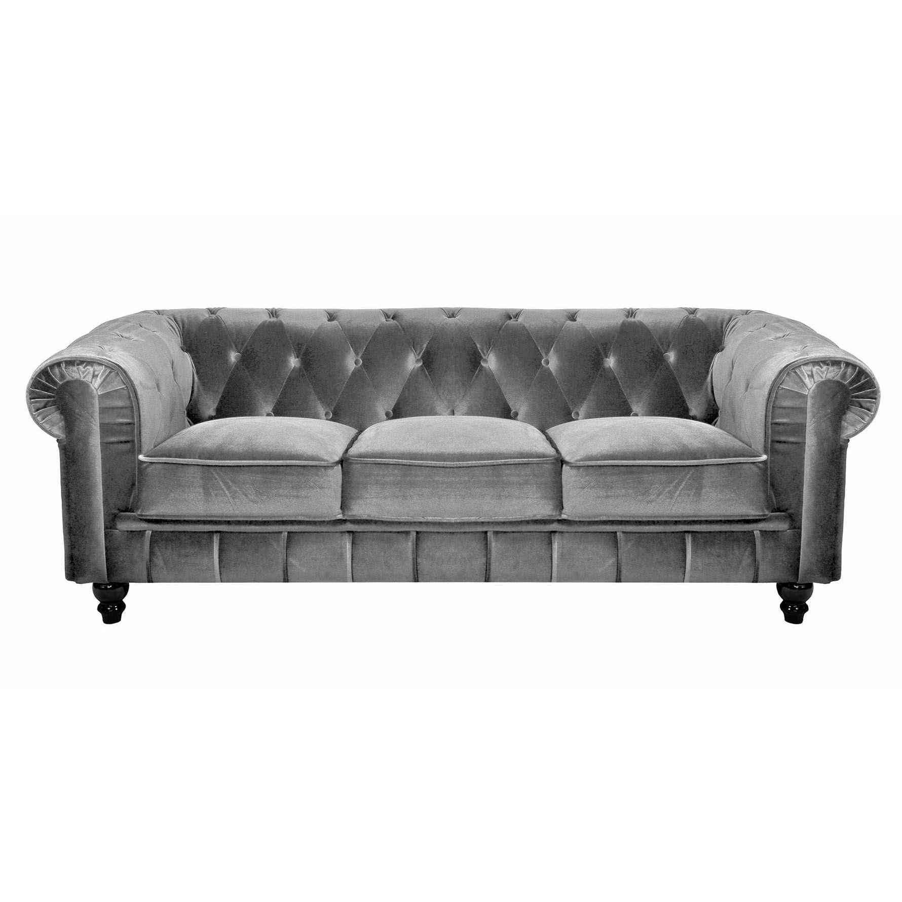 Deco Salon Chesterfield Deco In Paris Canape 3 Places Velours Gris Chesterfield