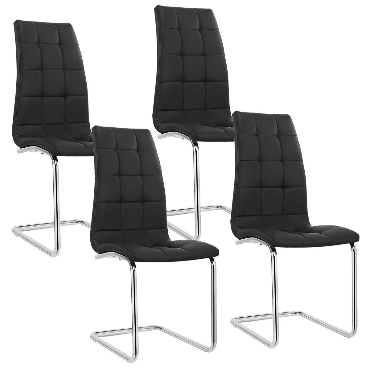 Lot De 4 Chaises Deco In Paris Lot De 4 Chaises Noir Design Matelasse