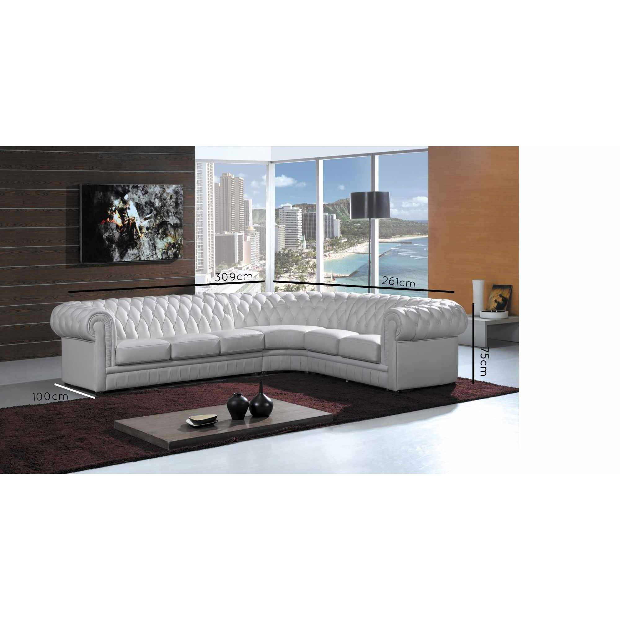 Deco Salon Chesterfield Deco In Paris Grand Canape D Angle Capitonne Blanc