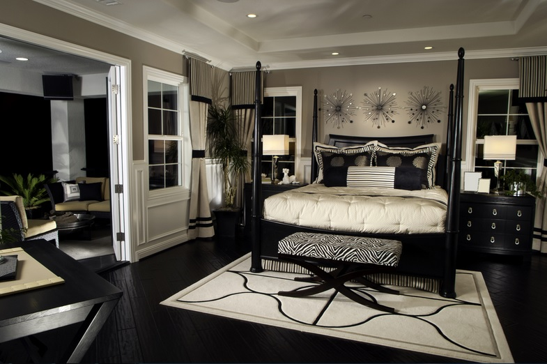 Master bedroom decorating ideas with black laminate floor