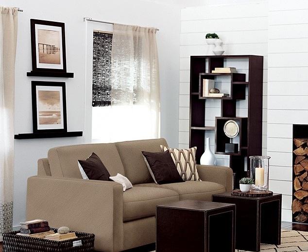 Free Standing Living Room Shelves In Dark Brown Color