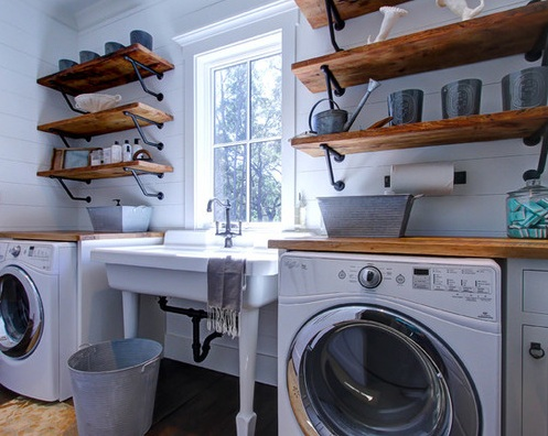 Diy Laundry Room Decor Using Wooden Shelves And Vintage