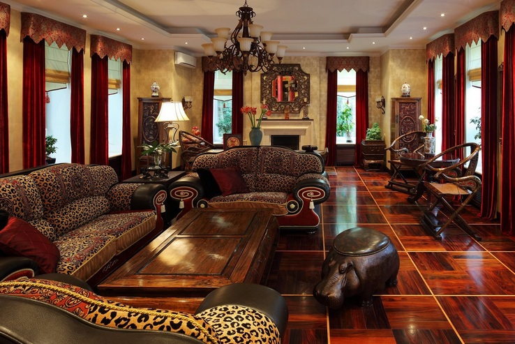 African themed living room with luxurious sofa sets