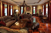 African themed living room with luxurious sofa sets ...