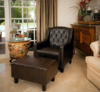 Chairs with ottomans for living room - brown leather ...