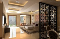 Floor to ceiling room dividers with black retro wood room ...