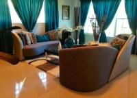 Brown living room decorating ideas with teal curtain ...