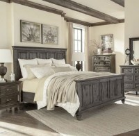 Farmhouse style bedroom with rustic ceiling fans ...