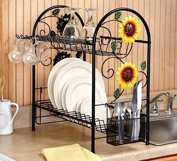 Sunflower kitchen decor theme with sunflower tile backsplash - kitchen decorating theme ideas