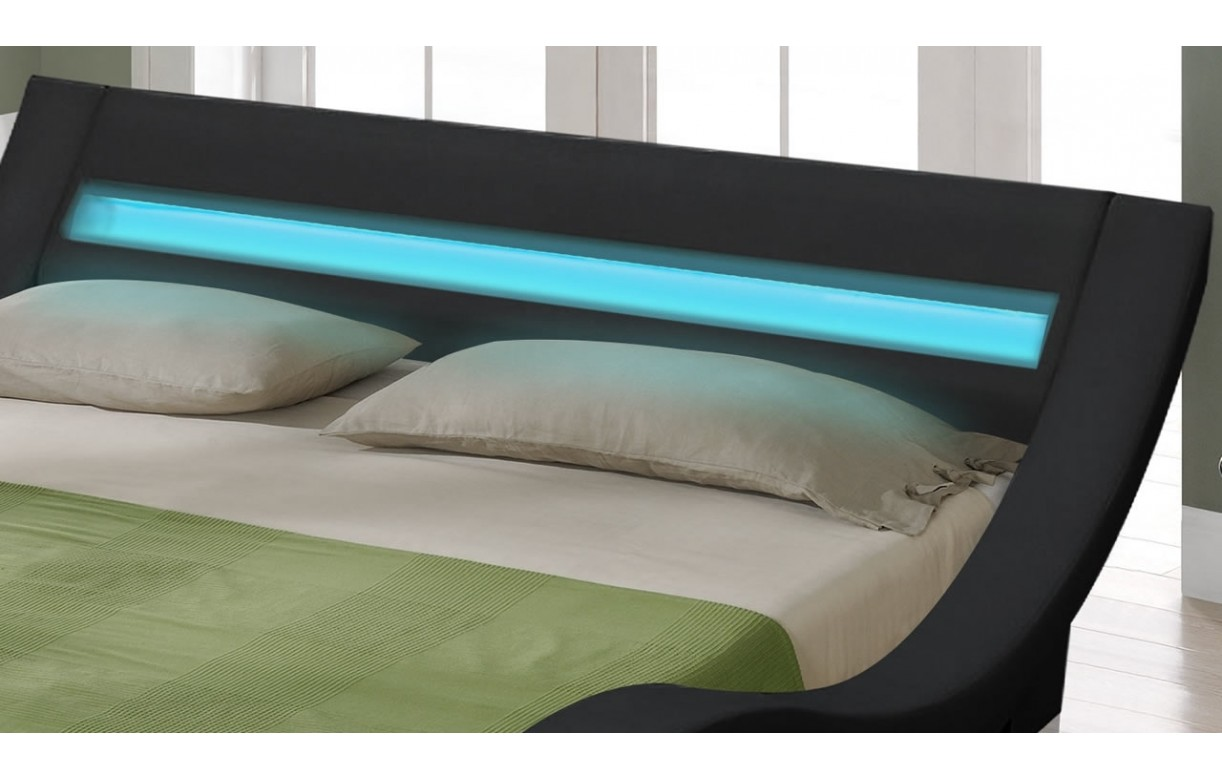 Lit King Size Dimension Lit Double King Size Noir 180 Cm Avec Sommier Et Bande Led