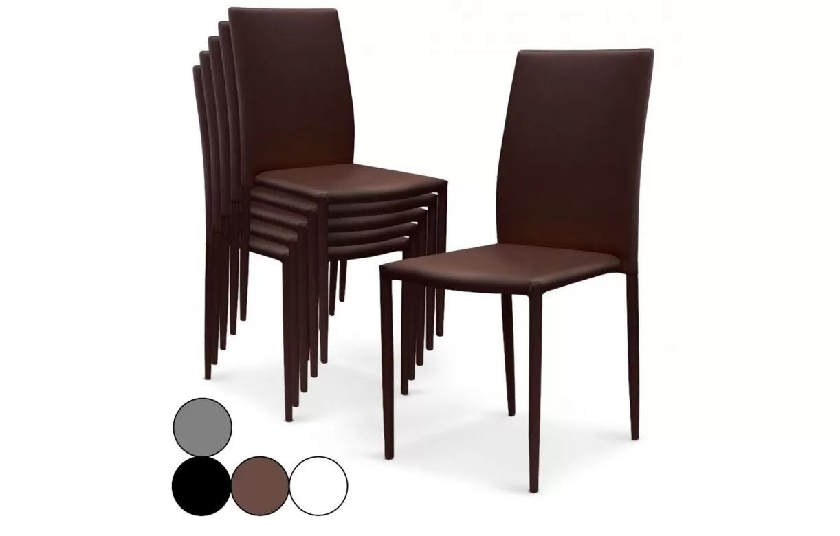 Lot De 6 Chaises Marron Lot De 6 Chaises Empilables En Simili Cuir Modani 4 Coloris
