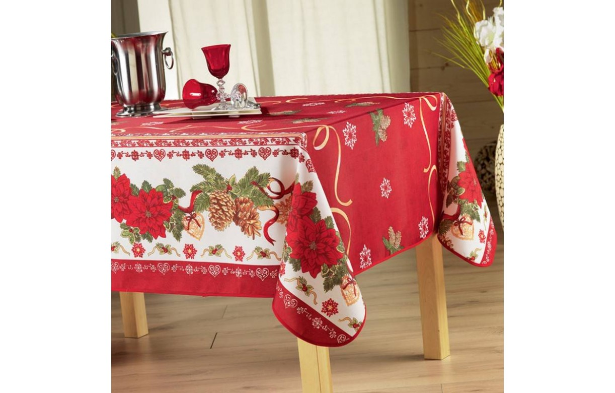 Nappe Rouge Nappe De Noel Rouge Anti Tache Rectangle 150x240 Cm