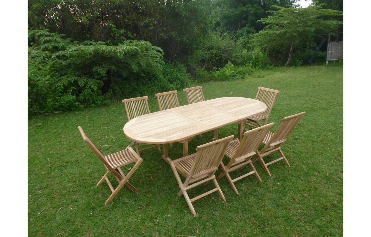 Table De Jardin Teck Massif | Salon De Jardin En Teck Ecograde ...