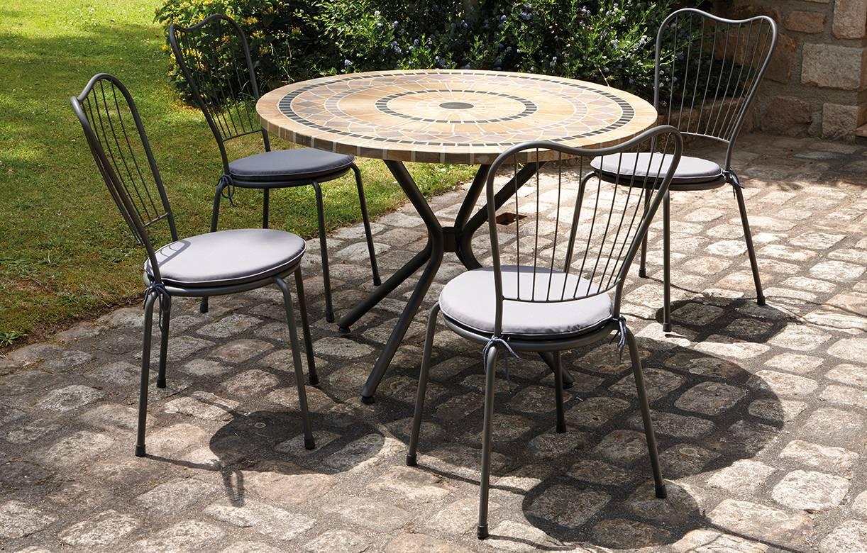 Salon De Jardin Table Ronde 4 Chaises | Table Et Chaise Jardin Pas ...
