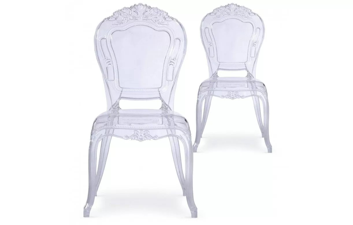 Chaise Transparente Style Baroque Lot De 2