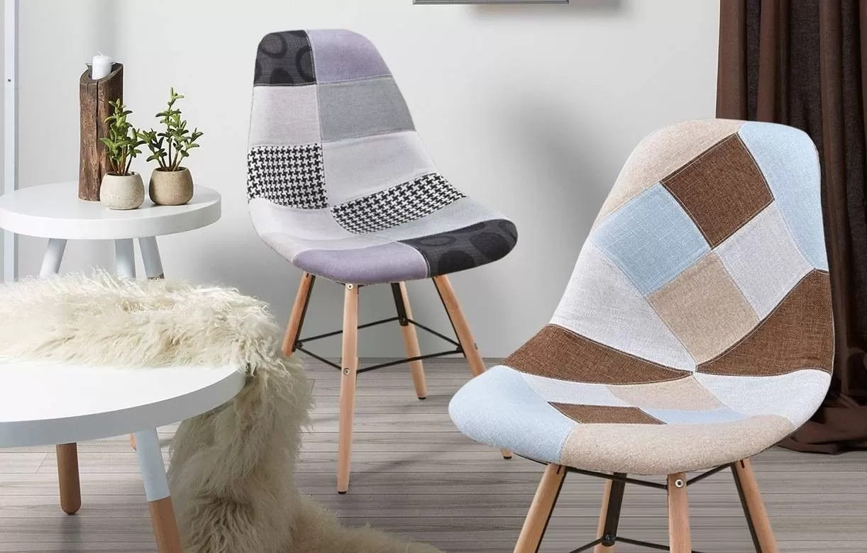 Chaise Design Patchwork Chaise Grise Scandinave Design Patchwork Lot De 2