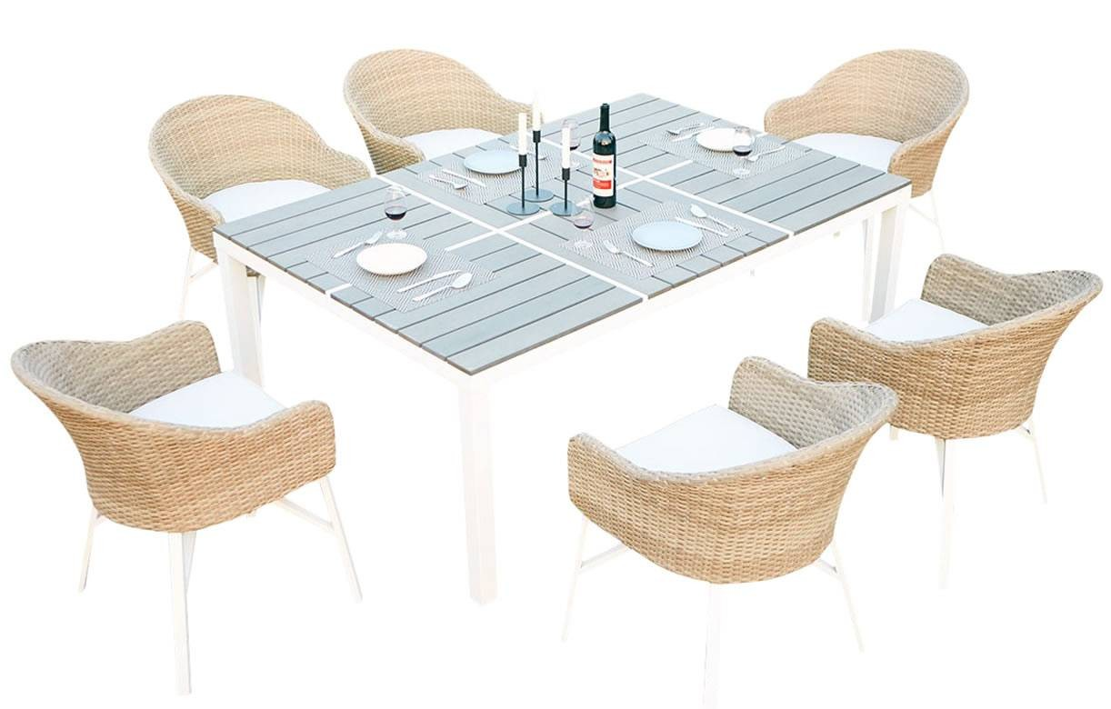 Table De Jardin Rotin Table De Jardin Design Blanche Et 6 Chaises Rotin Decome