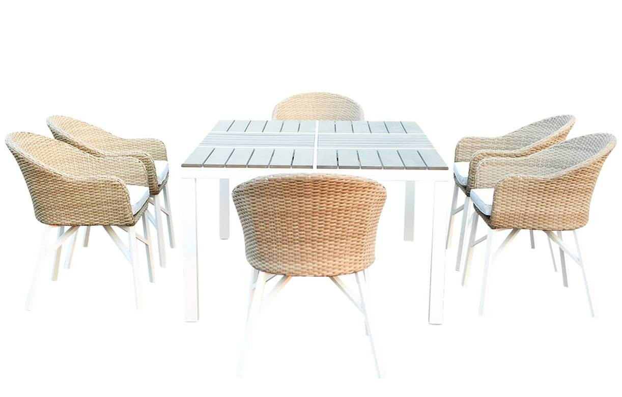 Ensemble Table Et Chaise En Rotin Table De Jardin Design Blanche Et 6 Chaises Rotin Decome