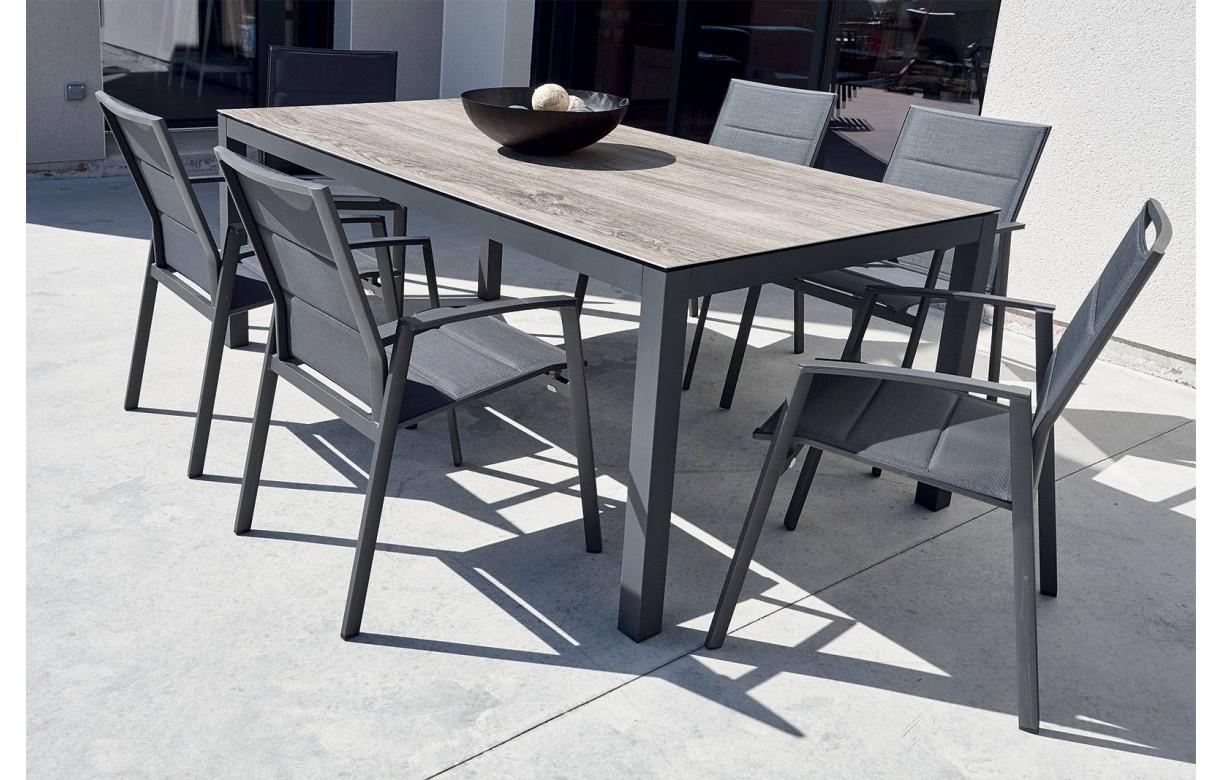Salon De Jardin Bois Remmington 1 Table 190-230cm + 4 Chaises + 2 Fauteuils