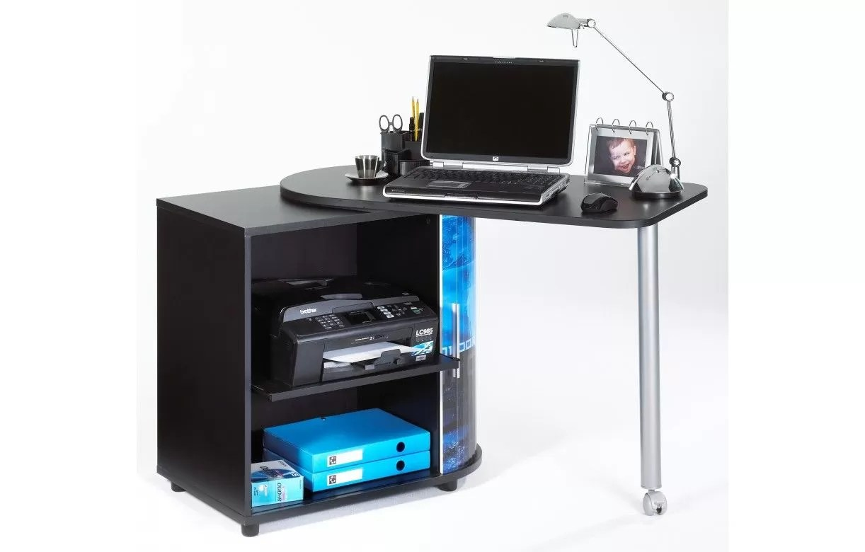 Bureau ordinateur noir support d écran de bureau noir