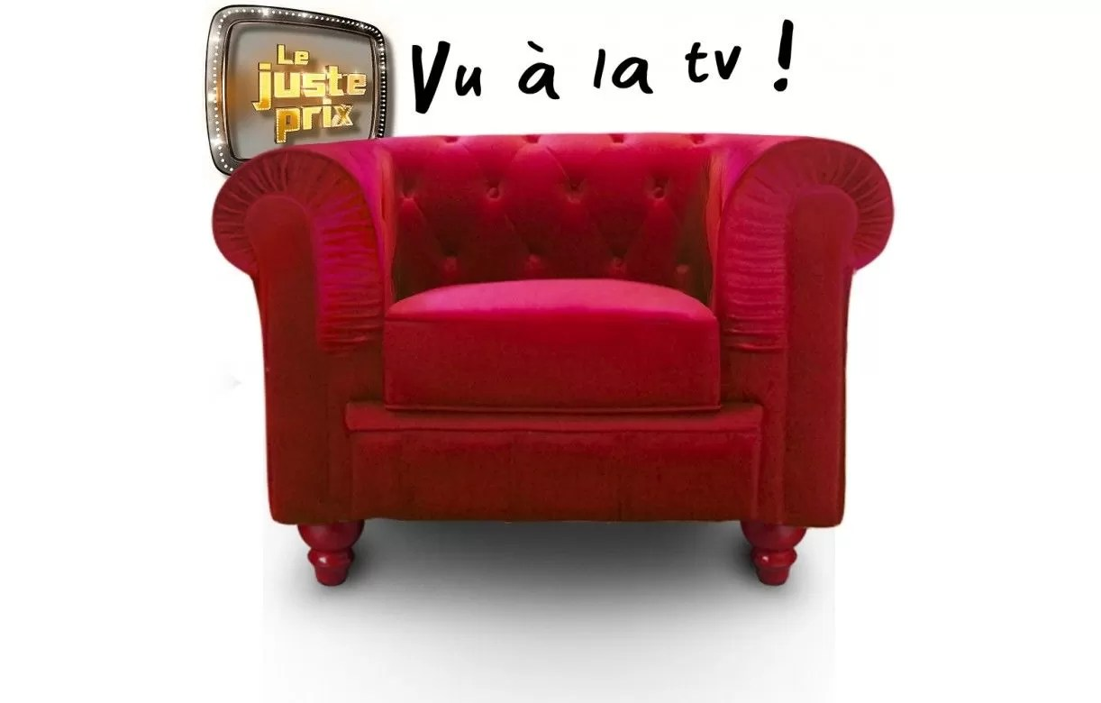 Fauteuils Chesterfield Velours Fauteuil En Velours Rouge Capitonné Chesterfield 6