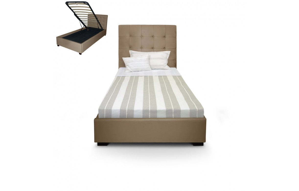 Lit Simple Coffre Lit Coffre Simple Une Personne Taupe 43 Sommier Relevable