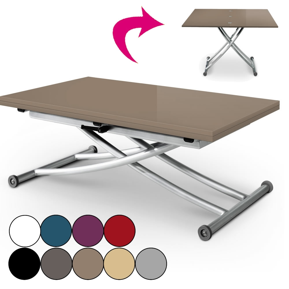 Table Basse Qui Se Transforme En Table Haute Table Basse Laquée Relevable Et Dépliable En Aluminim Carreraia 9 Coloris