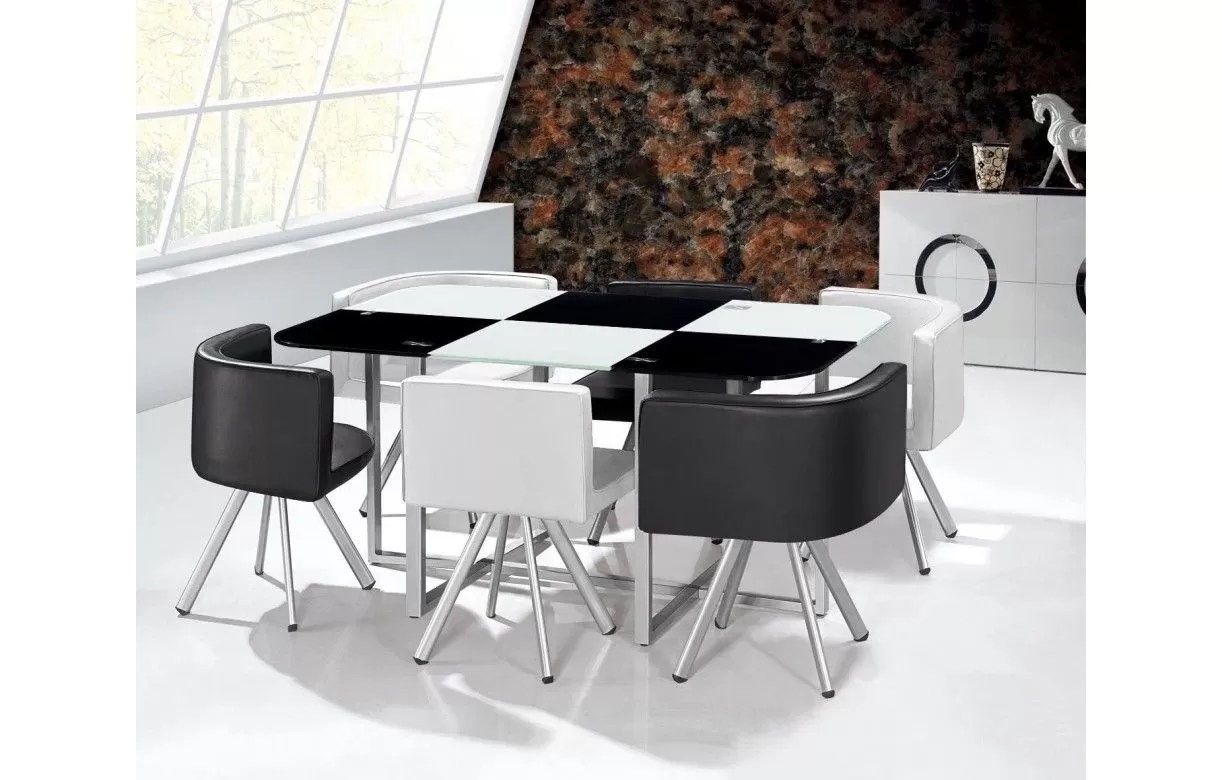 Table De Cuisine Avec Chaise Encastrable Ensemble Table Et 6 Chaises Encastrables En Simili Cuir